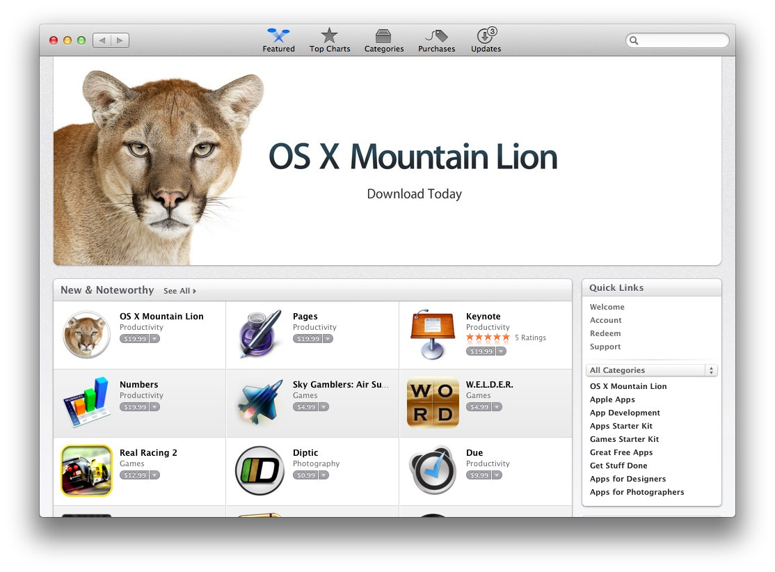 Download os x mountain lion (10. 8) from mac app store [direct link].
